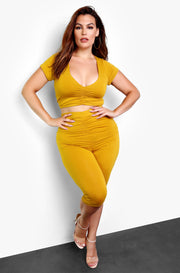 Mustard Ruched Bermuda Leggings Plus Size