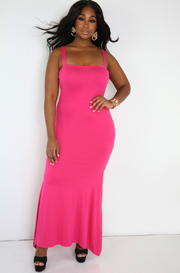 Fuchsia Mermaid Bodycon Maxi Dress Plus Sizes