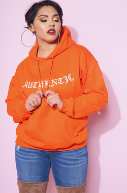 Authentic Orange Hoodie plus sizes