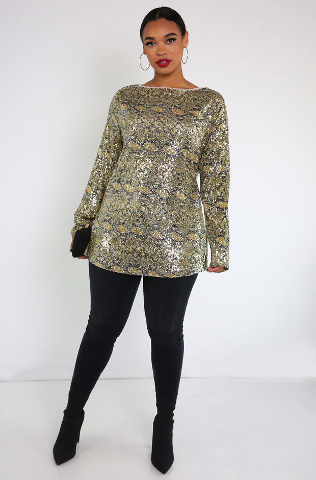 Green Sequin Long Sleeve Top Plus Sizes