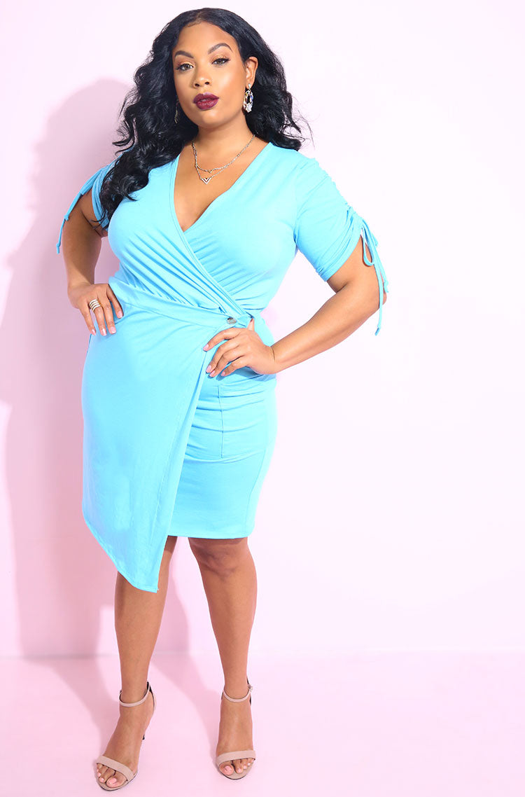 Light Blue Bodycon Mini Dress With Pockets plus sizes