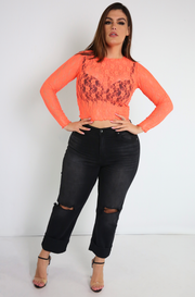 Neon Orange Semi-sheer Crop Top Plus Sizes