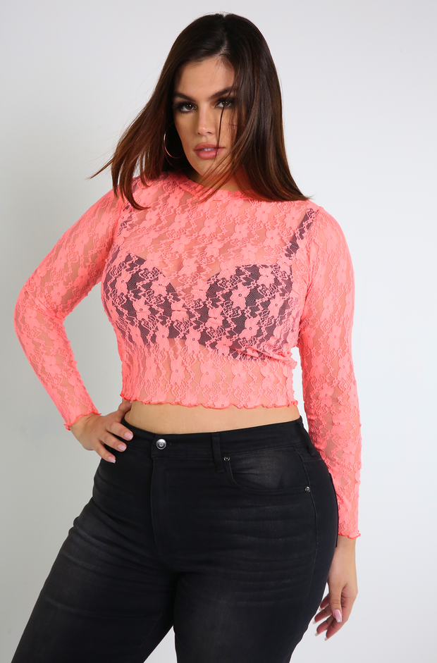 Neon Pink Semi-sheer Crop Top Plus Sizes