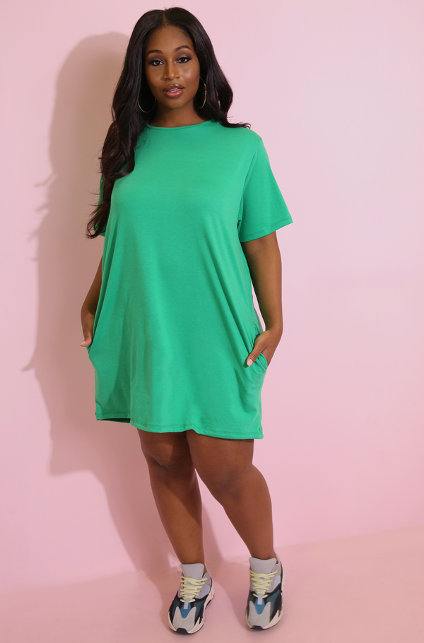 Green T-Shirt Dress With Pockets Plus Sizes