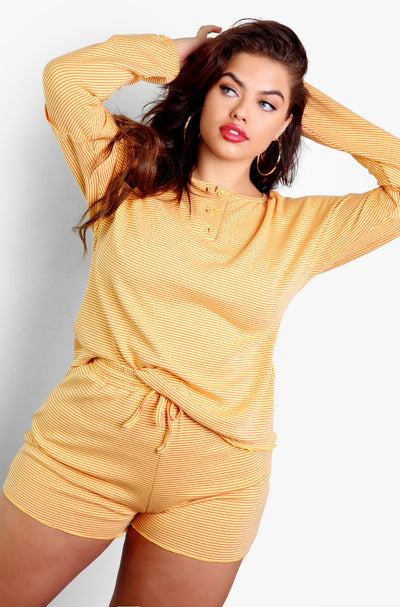 Neon Yellow Stripe Henley Long Sleeve Top Plus Sizes