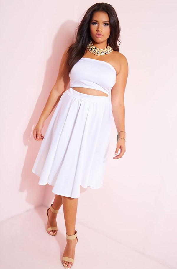 White Scuba Skater Midi Skirt plus sizes