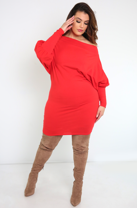 Red Over The Shoulder Mini Dress Puff Sleeves Plus Sizes