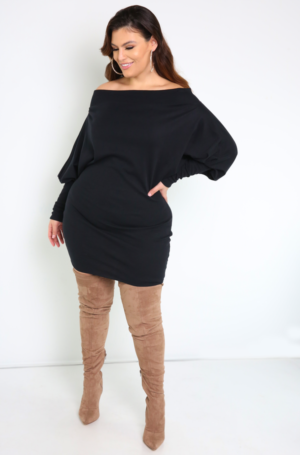 Black  Over The Shoulder Mini Dress Plus Sizes