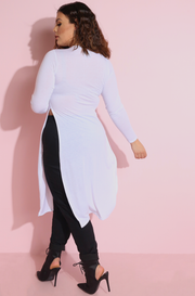 White Double Slit Long Top Plus Sizes