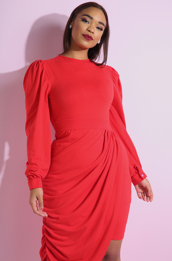 Red Draped Cocktail Bodycon Mini Dress plus sizes