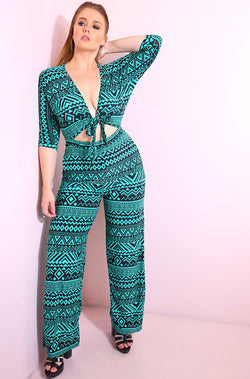Blue Aztec print 3/4 sleeve, front tie wide leg jumpsuit plus sizes