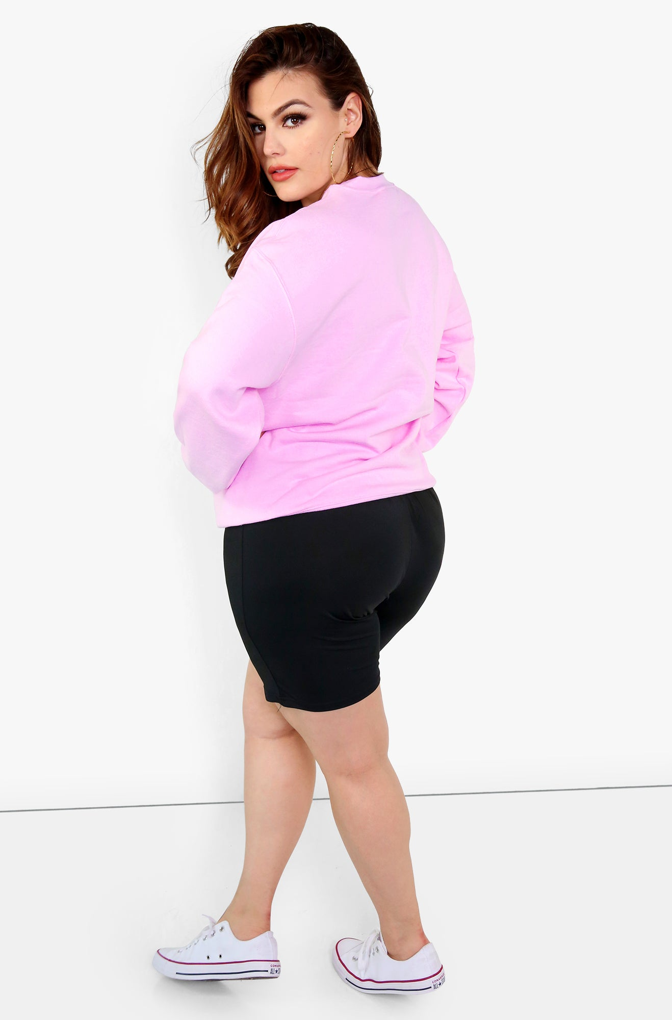 Pink Printed Sweatshirt Plus Sizes