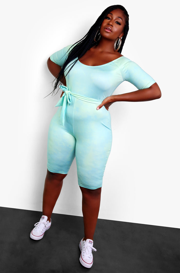 Aqua Bodycon Jumpsuit Plus Sizes
