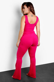 Fuchsia Front Tie Bell Bottom Jumpsuit Plus Sizes