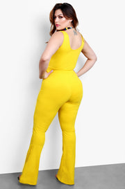 Yellow Front Tie Bell Bottom Jumpsuit Plus Sizes