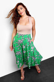 Green Pleated Skater Midi Skirt Plus Sizes