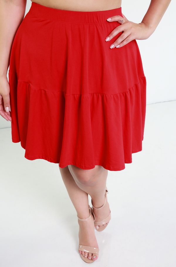 Red Mini Skater Skirt Plus Sizes