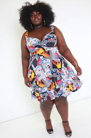 Blue Sweetheart Skater Dress Plus Sizes