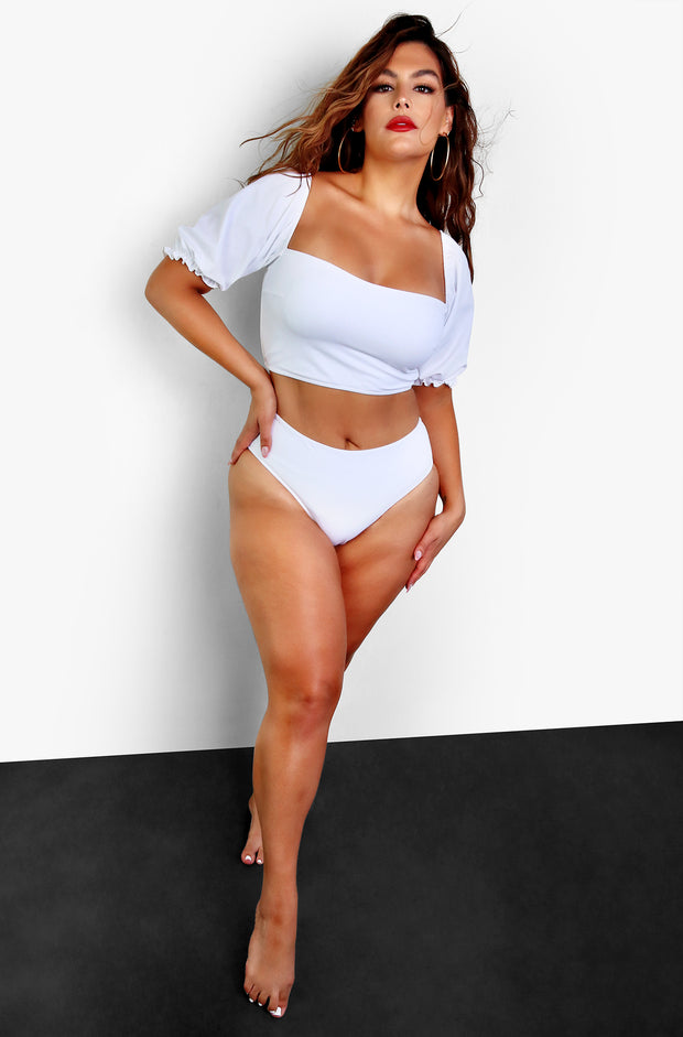 White Puff Mid Rise Bikini Bottom Plus Sizes