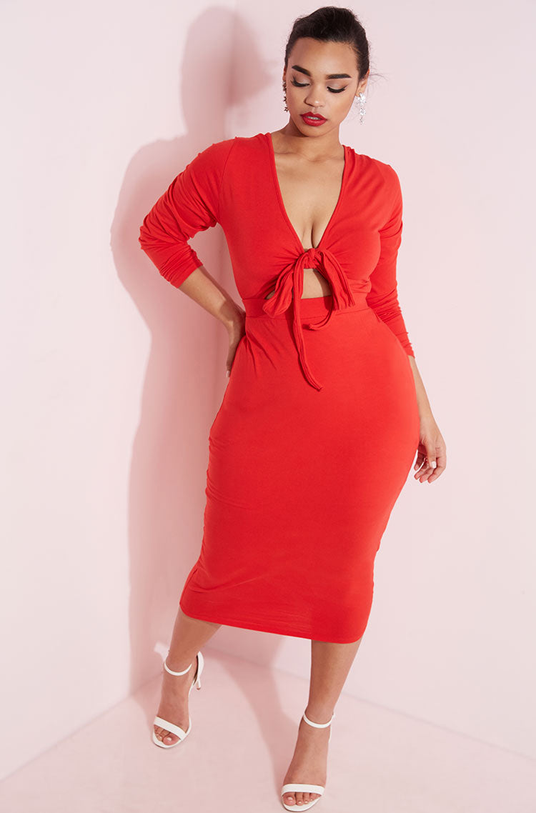 Red Tied Up Midi Dress plus sizes