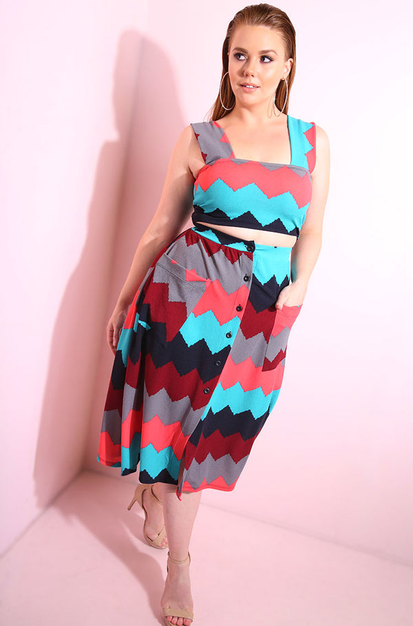 Chevron Print Button Down A-Line Skirt With Pink, Burgundy and Turquoise Hues plus sizes