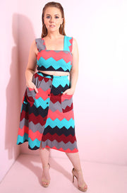 Chevron Print Squared Neckline Crop Top With Pink, Burgundy and Turquoise Hues plus sizes
