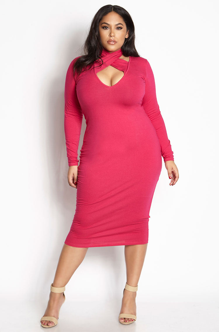 Fuchsia Caged Bodycon Midi Dress plus sizes