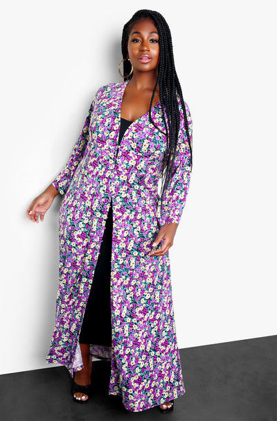 Purple Floral Maxi Kimono Plus Sizes