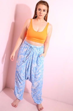 Blue Harem Pants Plus Sizes