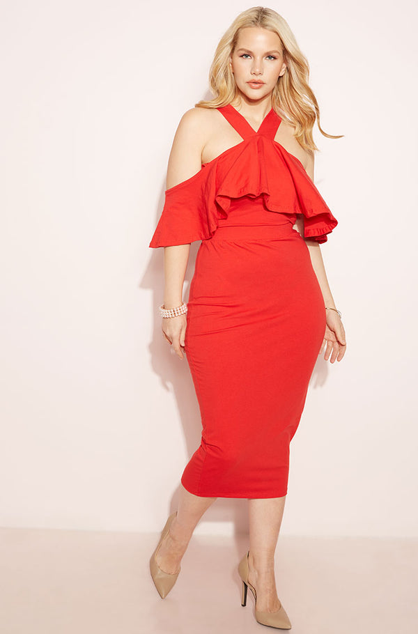 Red Ruffled Midi Dress plus sizes