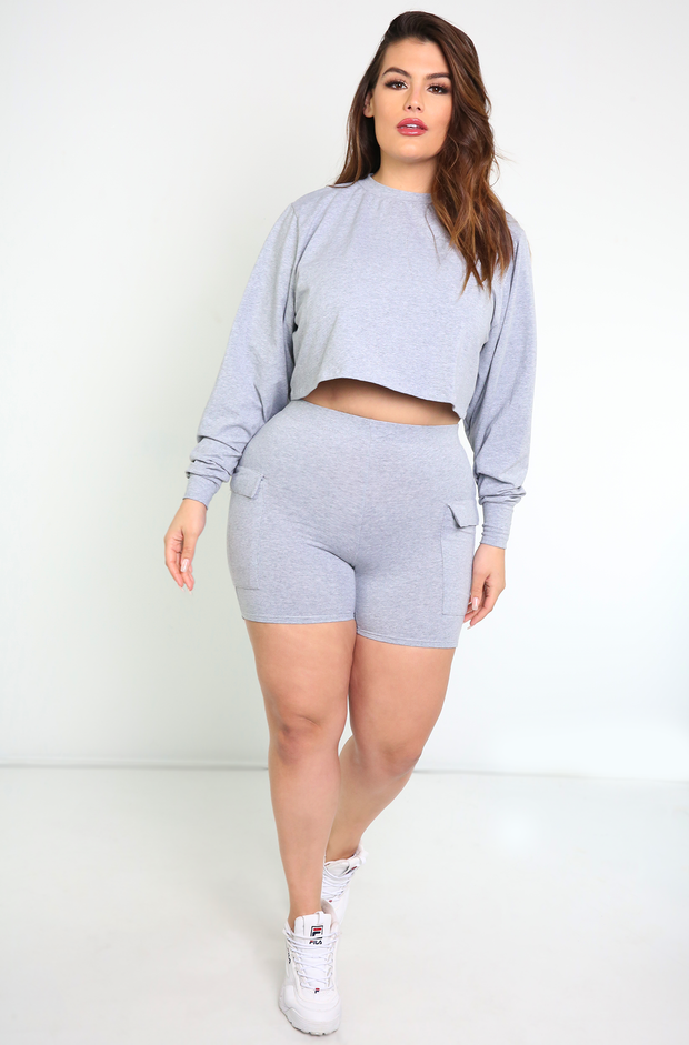 Gray Oversized Long Sleeve Crop Top Plus Sizes