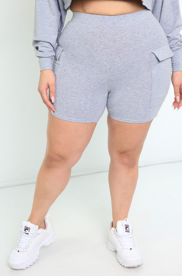 Gray Cargo Short Leggings Plus Sizes