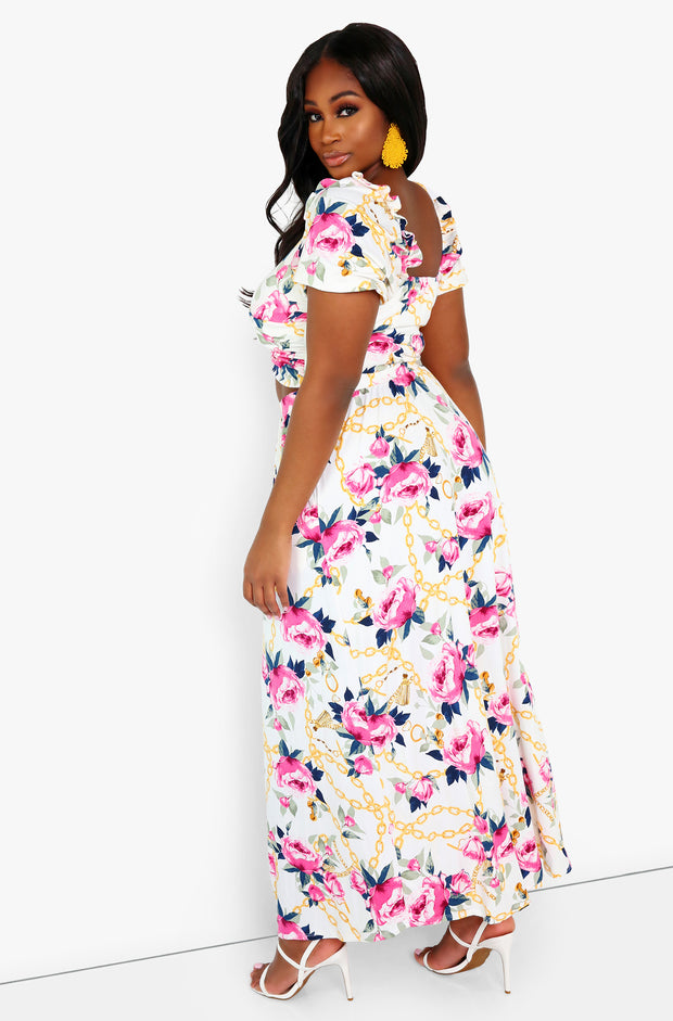 White Floral Cut Out Maxi Dress Plus Sizes