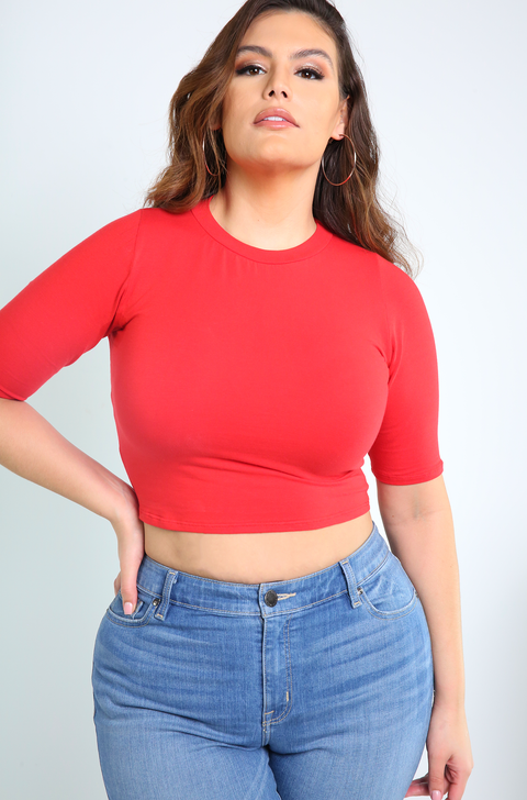 Red 3/4 Sleeve Crop Top Plus Sizes