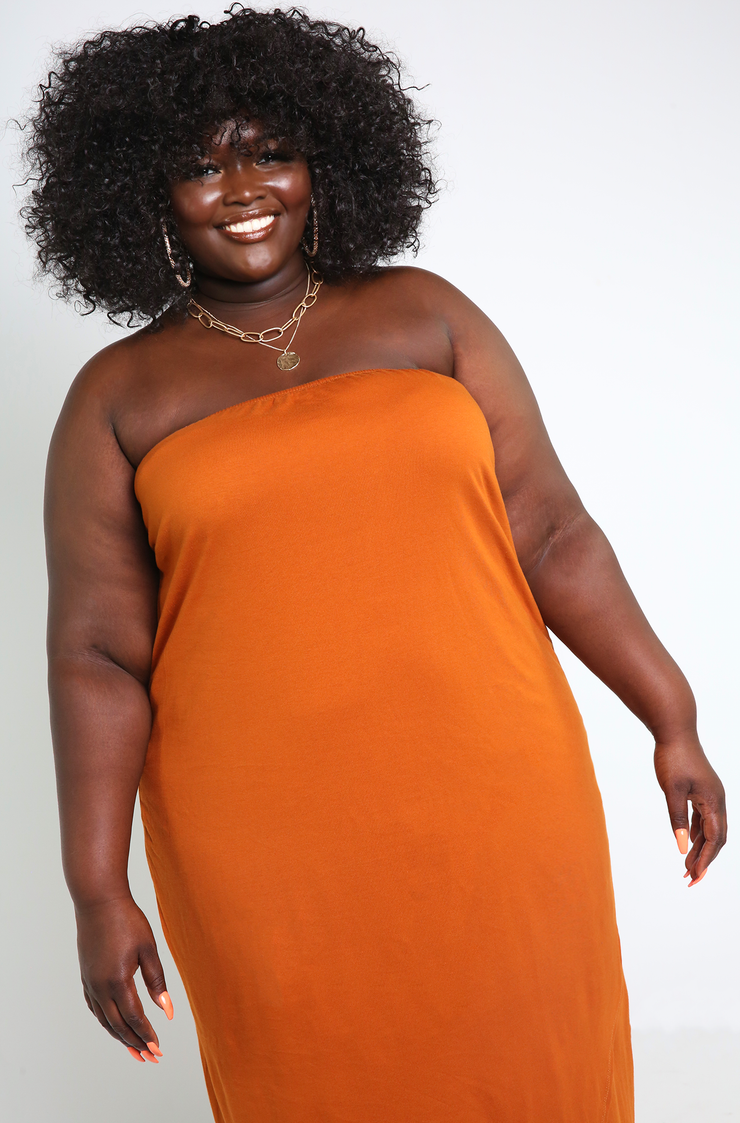 Burnt Orange Crossover Maxi Dress Plus Sizes