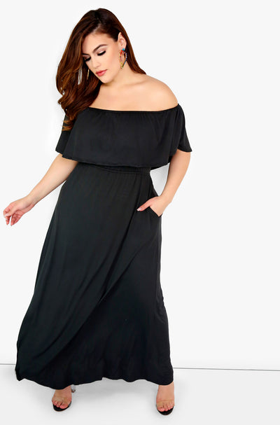 Black Over The Shoulder Maxi Dress w. Pockets Plus Size