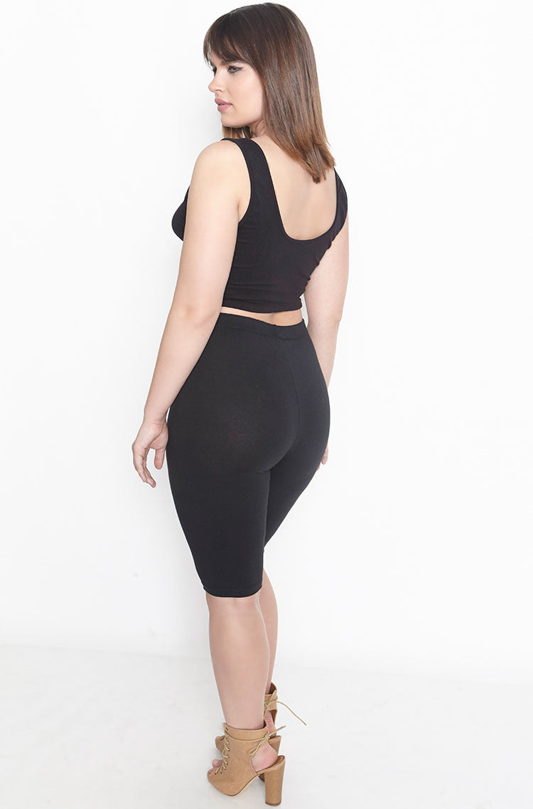 Black Essential High Waist Bermuda Length Leggings Plus Sizes