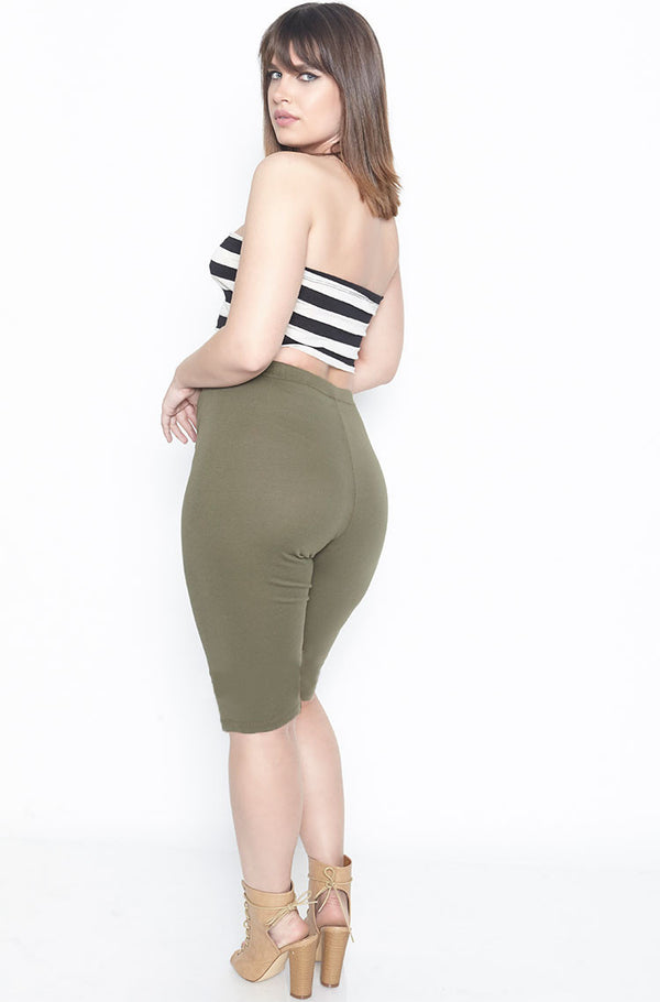 Olive Essential High Waist Bermuda Length Leggings Plus Sizes