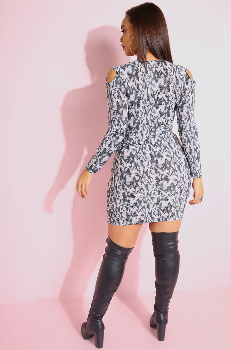 Gray Animal Print Cold Shoulder Bodycon Mini Dress plus sizes
