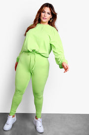 Pastel Green Long Sleeve Top & High Waisted Tie Front Joggers Set