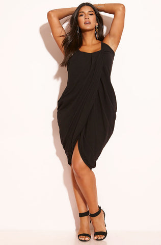 "Rebdolls ""Trying It"" Cold Shoulder Ribbed Ankle Length Dress"