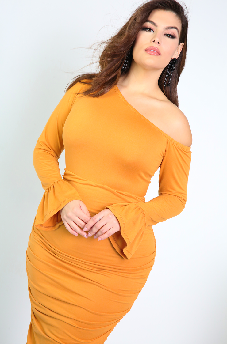 Orange Asymmetrical Neckline Bodycon Midi Dress Plus Sizes