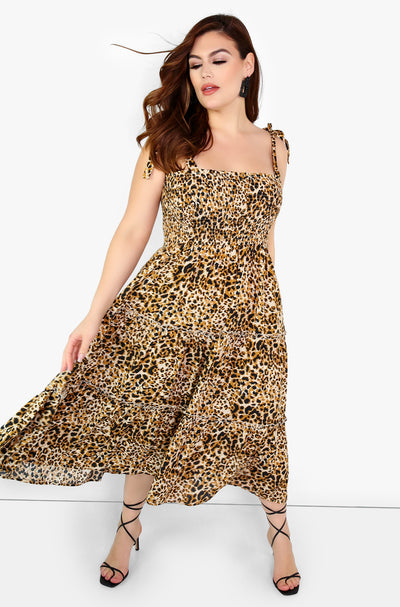 Brown Leopard Smocked Top Skater Midi Dress Plus Sizes