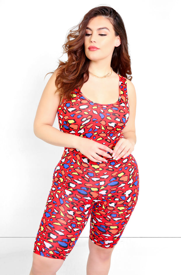 Red Multicolor Bodycon Cropped Jumper Plus Sizes