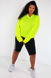 Neon Yellow Wind-Breaker Pull Over Plus Sizes