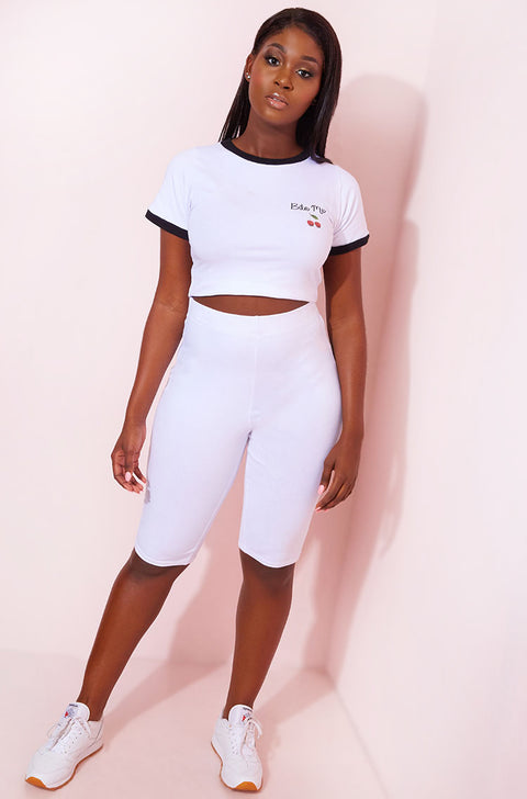 White Cropped Leggings Plus Sizes