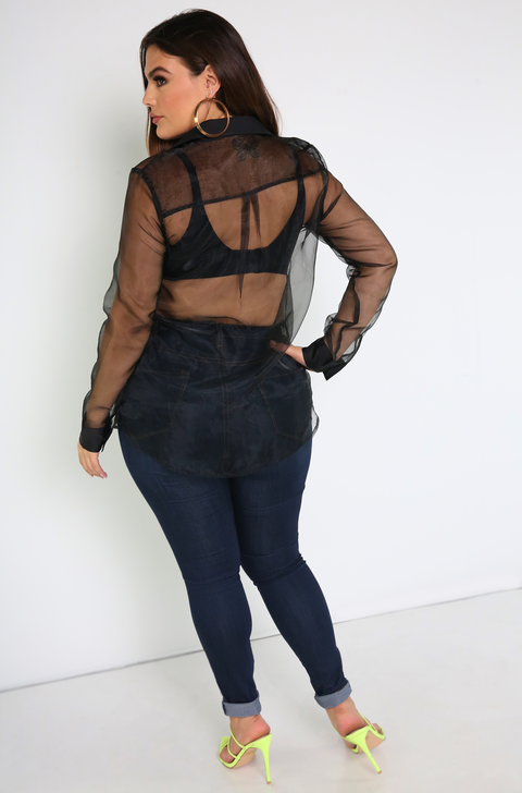 Black Satin Detail Button Down Top Plus Sizes