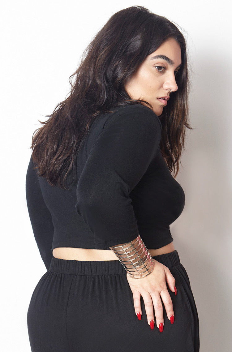 Black Ribbed 3/4 Sleeve Crop Top plus sizes