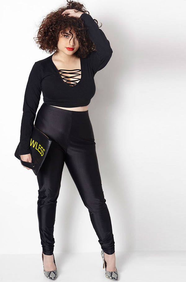 Black High Waist Spandex Leggings plus sizes