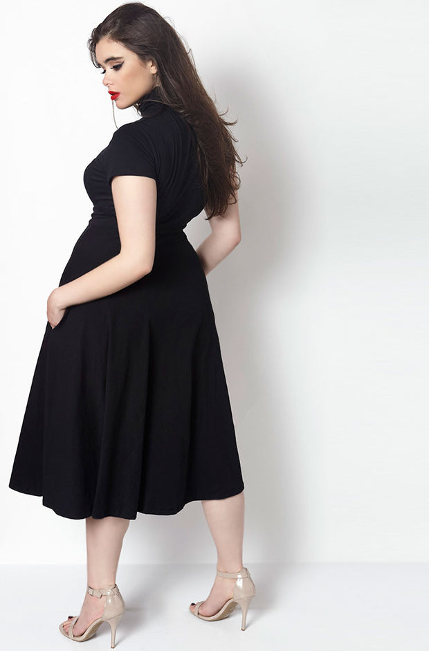Black Turtleneck Skater Midi Dress plus sizes